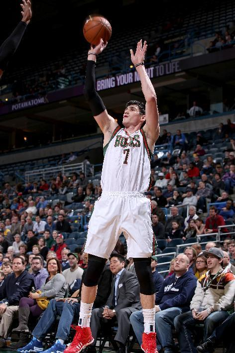 MILWAUKEE, WI - MARCH 3: Ersan Ilyasova #7 of the Milwaukee Bucks shoots against the Utah Jazz on March 3, 2014 at the BMO Harris Bradley Center in Milwaukee, Wisconsin. (Photo by Gary Dineen/NBAE via Getty Images)