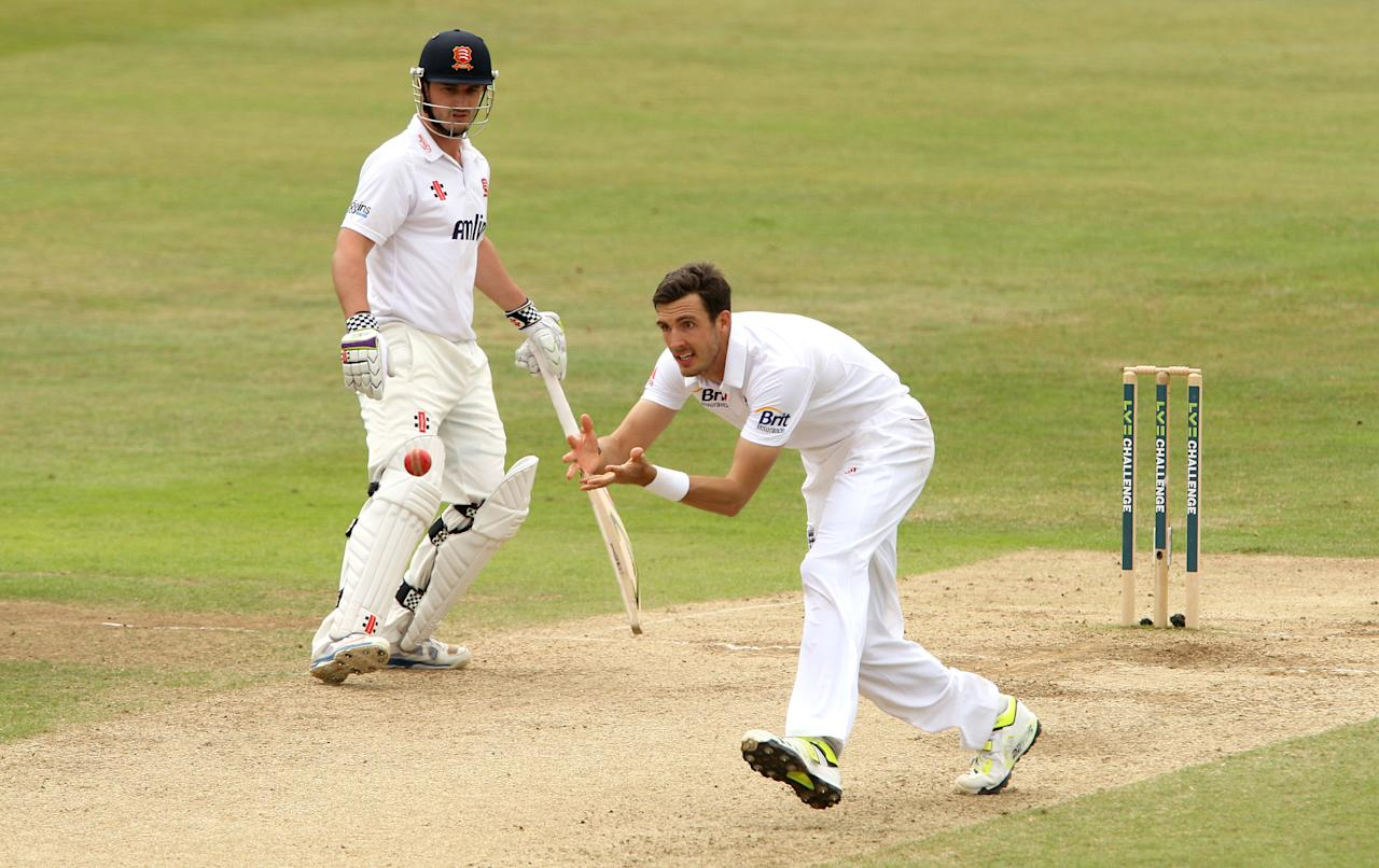 England's Steven Finn attempts a catch during day four of the International Tour match at The County Ground, Chelmsford.