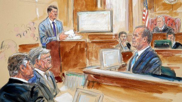 PHOTO: This courtroom sketch depicts Rick Gates, right, testifying during questioning by prosecutor Greg Andres, standing at left, as Paul Manafort, far left, sits with his lawyer Kevin Downing at in Alexandria, Va., Aug. 7, 2018. (Dana Verkouteren via AP)