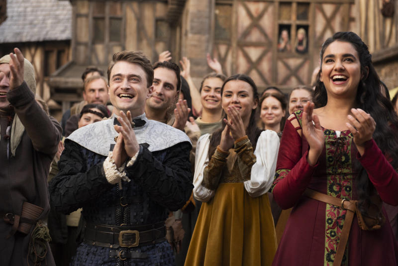 Daniel Radcliffe (Prince Chauncley) and Geraldine Viswanathan (Alexandra Shitshoveler, right) in Warner TV's Miracle Workers: Dark Ages. (Photo: Warner TV)