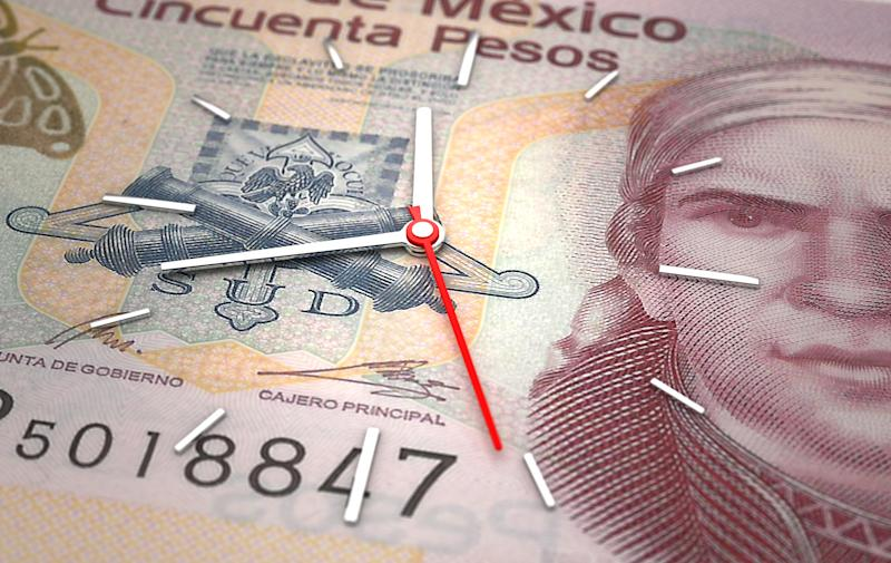 Time and Mexican Pesos. Time is money concept