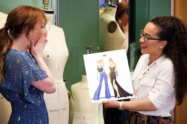 PHOTO: Patti Murin (Anna, OBC 'Frozen') and Yelayny Placencia (FIT student) review design sketches for Anna inspired garments. (Disney)
