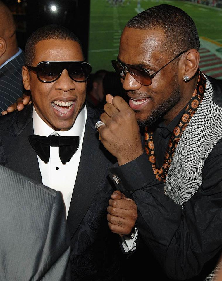 "At the other end of the infamous Vegas Strip, LeBron James partied with Jay-Z at the grand opening of Jigga's 40/40 Club in The Palazzo Hotel. Jamie McCarthy/<a href=""http://www.wireimage.com"" target=""new"">WireImage.com</a> - December 31, 2007"