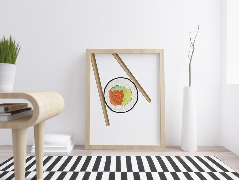 <p>This <span>Sushi Poster</span> ($9) is minimalistic and modern.</p>