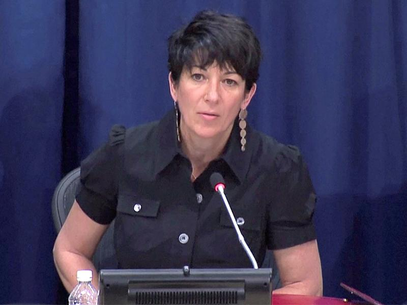 Ghislaine Maxwell, longtime associate of accused sex trafficker Jeffrey Epstein, speaks at a news conference on oceans and sustainable development at the United Nations in New York, on 25 June 2013: (Reuters)