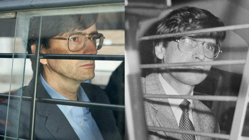 David Tennant portrays serial killer Dennis Nilsen in ITV drama 'Des'. (Credit: ITV/Harry Dempster/Daily Express/Hulton Archive/Getty Images)