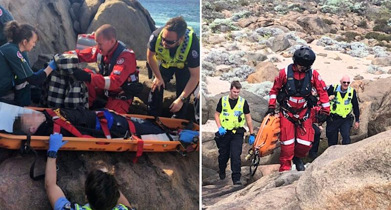 The boy was transported to a rescue helicopter on a stretcher