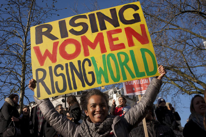 <p>Women protesters march through central London as part of an international campaign on the first full day of Donald Trump's presidency, on 21st January 2017, in London, England. (Richard Baker / In Pictures via Getty Images) </p>
