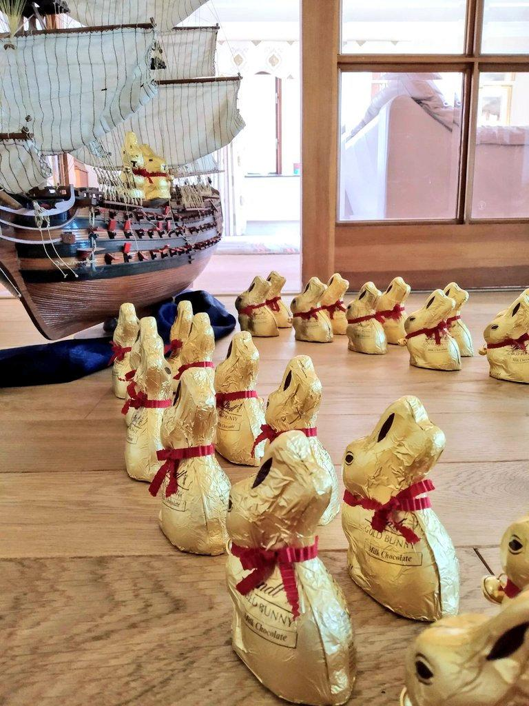 The groom-to-be shared hilarious pictures to Twitter - including the bunnies boarding Noah's Ark (SWNS)