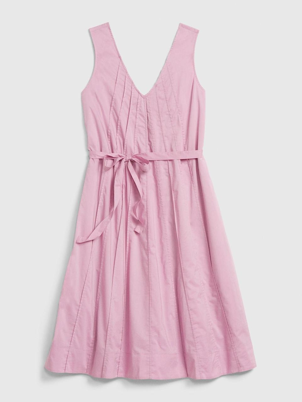<p>Having a Galentines with your besties? Get a fresh blow out and dress up with this <span>Gap Pintuck Swing Dress</span> ($45, originally $60)!</p>
