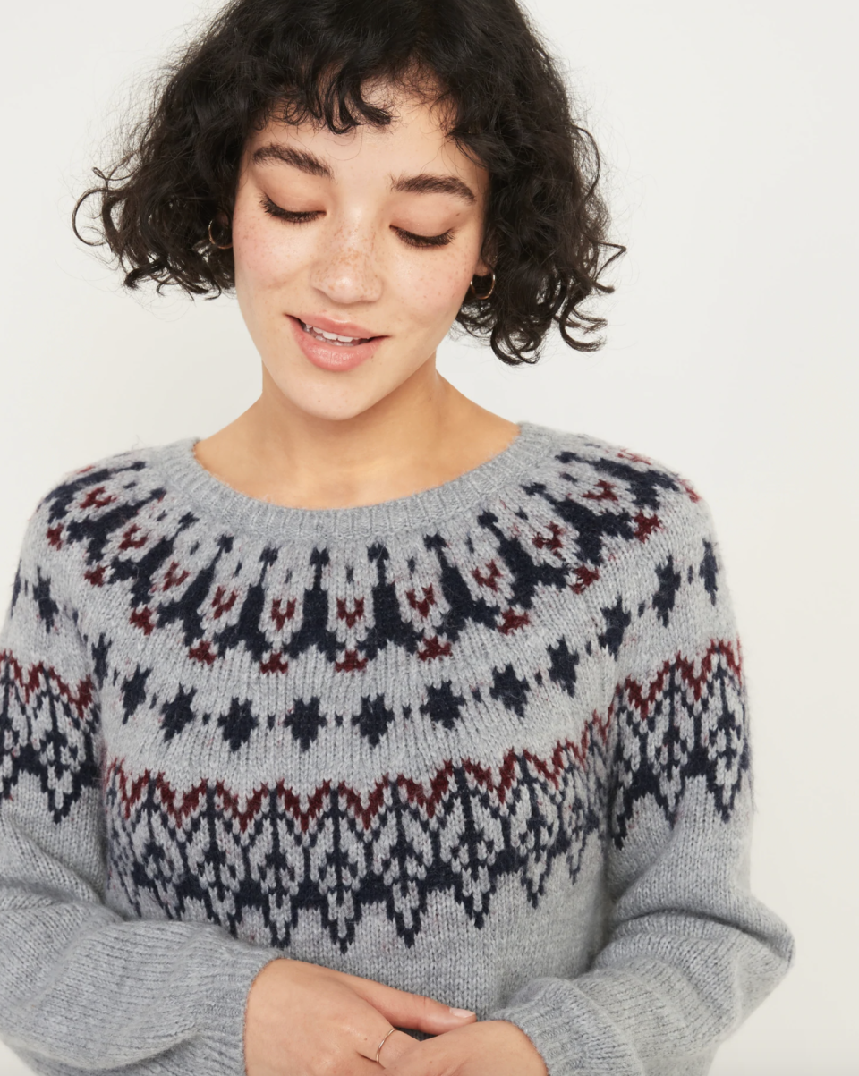 Cozy Fair Isle Blouson-Sleeve Sweater for Women - on sale at Old Navy, $28 (originally $55).