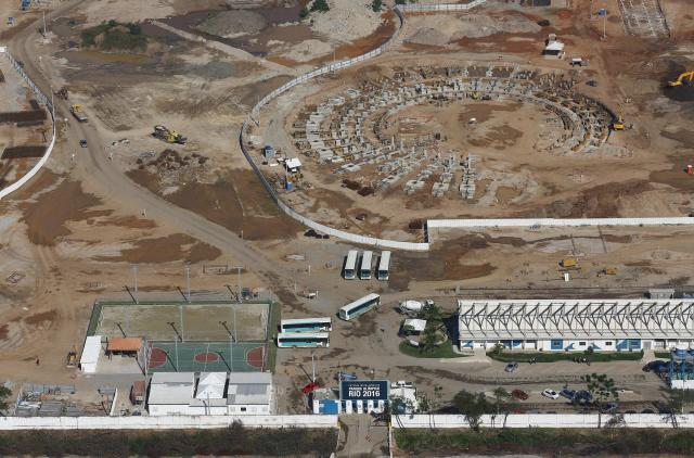 REFILE - CORRECTING VENUE The construction site of the Rio 2016 Olympic Park is pictured from above in Rio de Janeiro June 27, 2014. REUTERS/Ricardo Moraes (BRAZIL - Tags: SPORT OLYMPICS BUSINESS CONSTRUCTION)