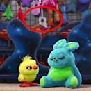 """<p>In addition to the Pizza Planet truck tattoo (it's on the carnival worker's leg) and the takeout container, in <em>Toy Story 4</em> you can spot loads of Easter eggs in the antiques store: Keep a lookout for the Casey Jr. box again, a <a href=""""https://www.hollywoodreporter.com/behind-screen/toy-story-4-pixar-reveals-easter-eggs-buried-films-antique-store-1219752"""" rel=""""nofollow noopener"""" target=""""_blank"""" data-ylk=""""slk:vintage ad for Tripledent Gum"""" class=""""link rapid-noclick-resp"""">vintage ad for Tripledent Gum</a> and a cameo from <em>Up</em>'s Dug in a painting of dogs playing poker. But our favorite egg is at the carnival: You can spot what looks like Ernesto's guitar from <em>Coco</em> hanging in the back as one of the prizes in Ducky and Bunny's game. </p>"""
