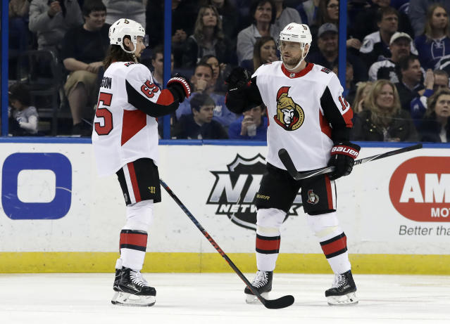 Ottawa Senators right wing Marian Gaborik, of Slovakia, celebrates his goal against the Tampa Bay Lightning with defenseman Erik Karlsson, of Sweden, during the second period of an NHL hockey game Tuesday, March 13, 2018, in Tampa, Fla. (AP Photo/Chris O'Meara)