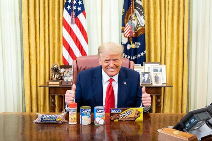 Donald Trump shared a picture of himself posing with Goya products in the Oval Office on Wednesday: White House