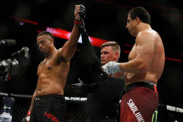 Greg Hardy defeated Dmitrii Smoliakov on Saturday. (Getty Images)