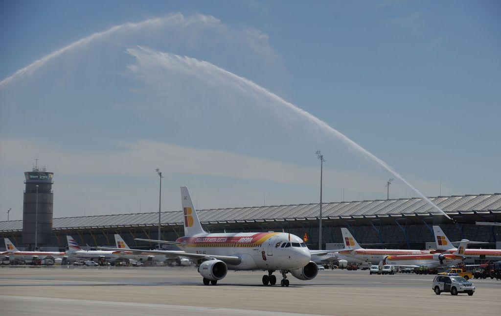 An Iberia plane arrives at Barajas airport in Madrid, Spain. For its kids' play areas, Conde Nast Traveller India magazine has named this airport among the world's most child-friendly.