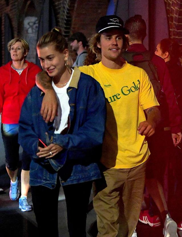 Justin Bieber and Hailey Baldwin (wearing <i>that</i> ring) step out in NYC. (Photo: 247PAPS.TV/SplashNews.com)
