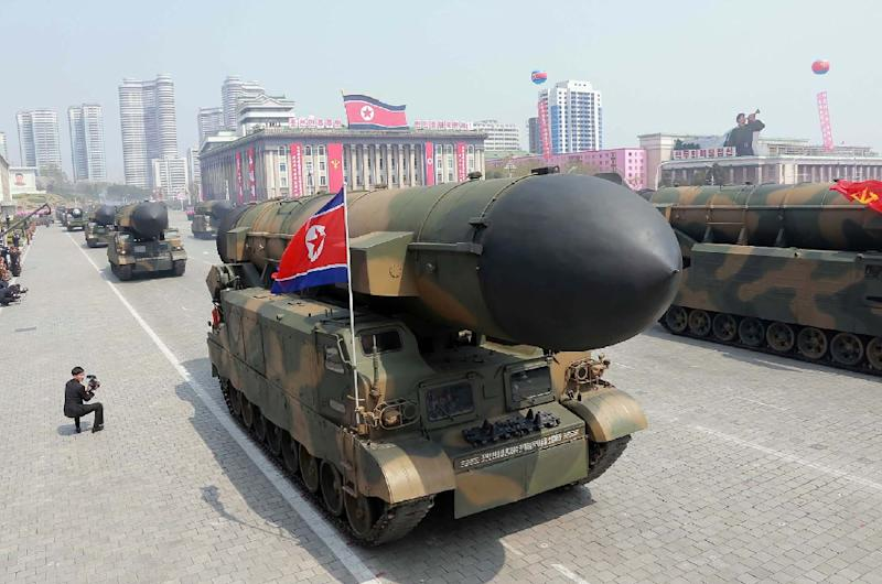 Ballistic missiles are displayed at the Kim Il-Sung square during a military parade in Pyongyang, marking the 105th anniversary of the birth of the late North Korean leader, on April 15, 2017