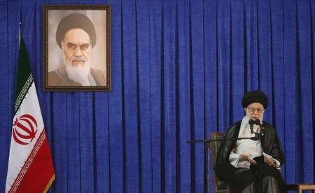 Ayatollah Ali Khamenei delivers a speech during a ceremony marking the death anniversary of the founder of the Islamic Republic Ayatollah Ruhollah Khomeini in Tehran Iran