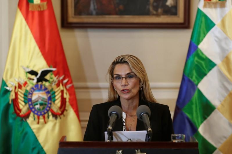 Bolivian Interim President Jeanine Anez reads a statement at the Presidential Palace, in La Paz