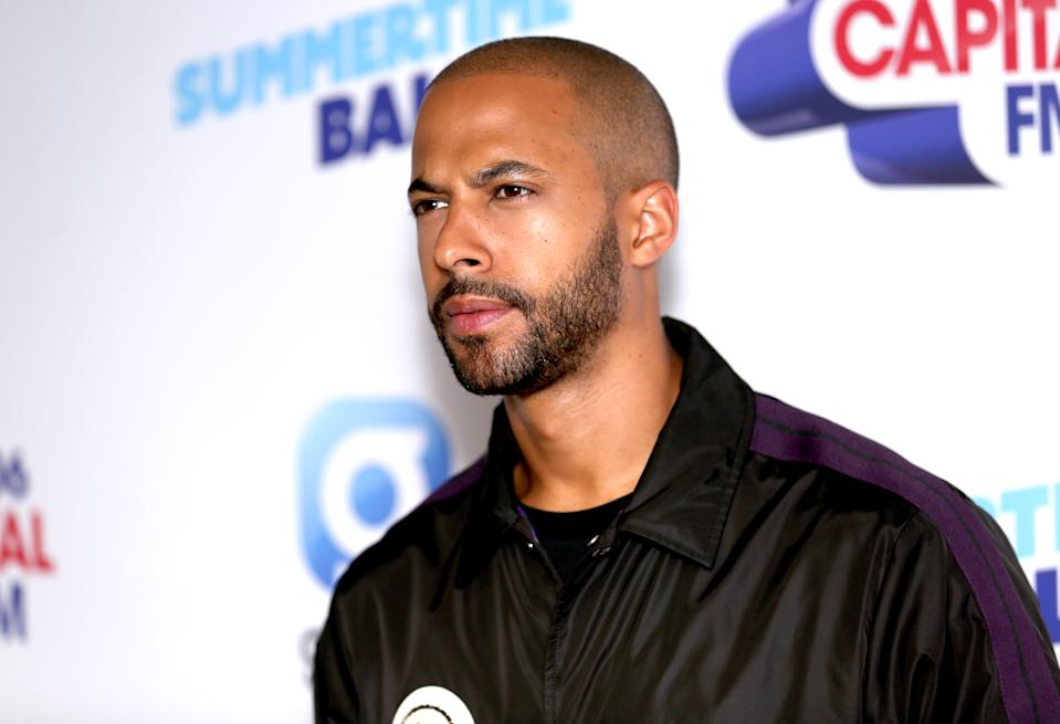 Marvin Humes on the red carpet of the the media run during Capital's Summertime Ball. The world's biggest stars perform live for 80,000 Capital listeners at Wembley Stadium at the UK's biggest summer party. (Photo by David Parry/PA Images via Getty Images)