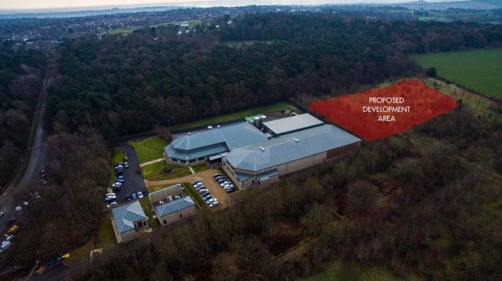 An aerial shot of Harrogate Spring Water's current bottling plant and the proposed development areaPinewoods Conservation Group