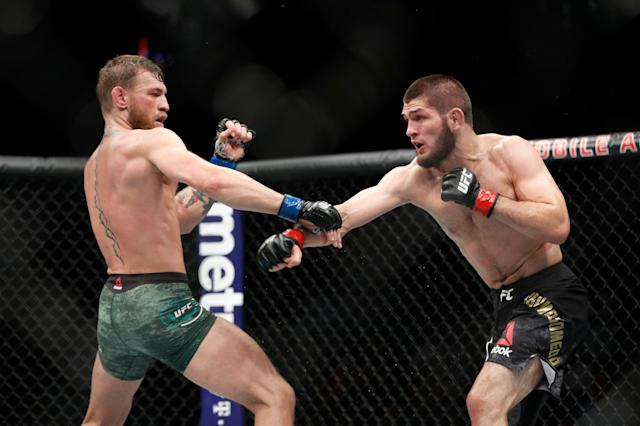 It could take a while before we get a Conor McGregor-Khabib Nurmagomedov rematch. (AP Photo/John Locher)