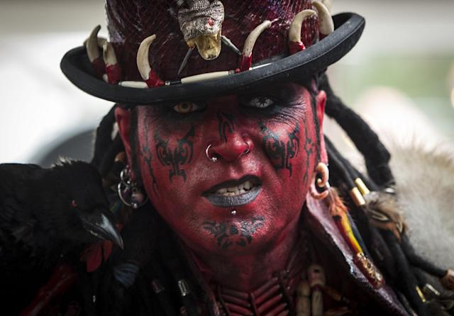 <p>A tattooed man poses at the London International Tattoo Convention 2017 at Tobacco Docks in London, Britain on Sept. 23, 2017. (Photo: Lauren Hurley/PA Wire via ZUMA Press) </p>