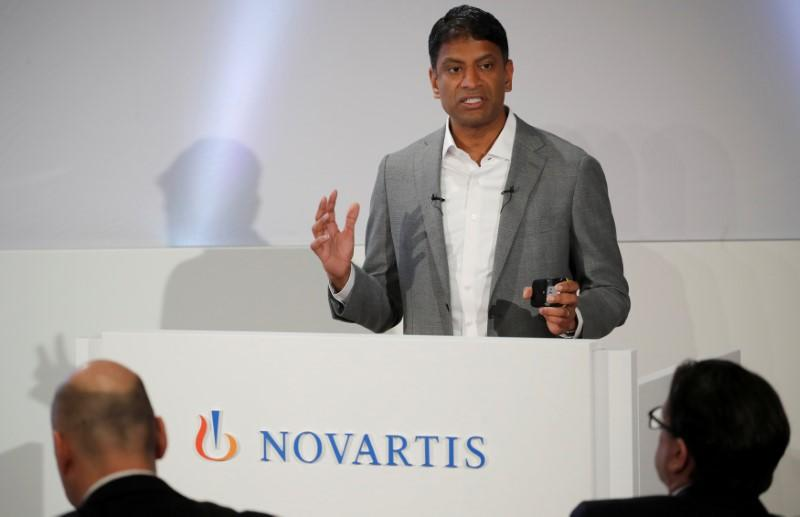 FILE PHOTO: CEO Vas Narasimhan of Swiss drugmaker Novartis addresses the company's annual news conference in Basel