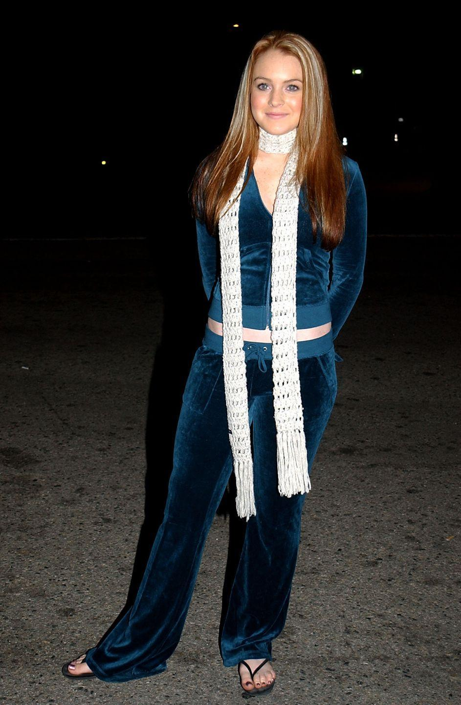<p>The go-to ensemble of every female, age 11 to 40. As you'll notice, 18-year-old Lindsay Lohan made hers even more 2000s-worthy with a skinny scarf.</p>