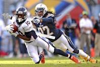 FILE PHOTO: Dec 6, 2015; San Diego, CA, USA; Denver Broncos wide receiver Emmanuel Sanders (10) catches a pass as San Diego Chargers cornerback Jason Verrett (22) defends during the second quarter at Qualcomm Stadium. Mandatory Credit: Jake Roth-USA TODAY Sports - 8980952