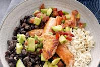 """<p>Build your own South of the Border bowl at home. You'll never wait on another Chipotle line again. </p><p><em><a href=""""http://www.drozthegoodlife.com/healthy-food-nutrition/healthy-recipe-ideas/recipes/a2191/tex-mex-salmon-bowl/"""" rel=""""nofollow noopener"""" target=""""_blank"""" data-ylk=""""slk:Get the recipe from Dr. Oz The Good Life »"""" class=""""link rapid-noclick-resp"""">Get the recipe from Dr. Oz The Good Life »</a></em> </p>"""