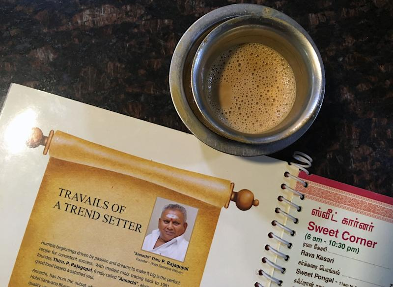 This photo taken on June 28, 2019 shows the image of P. Rajagopal, founder of the Saravana Bhavan food chain, on a menu at one of the popular restaurants in Chennai. - Rajagopal's story has it all: rags to riches, the visionary creator of a trailblazing Indian restaurant chain -- and having a love rival murdered after some fateful cosmic advice. (Photo by ARUN SANKAR / AFP) / To go with 'INDIA-PEOPLE-FOOD-LIFESTYLE-CRIME,FOCUS' by Alexandre Marchand (Photo credit should read ARUN SANKAR/AFP/Getty Images)