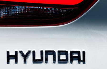 FILE PHOTO: The Hyundai logo is seen during the first press day of the Paris auto show, in Paris, France, Oct. 2, 2018. REUTERS/Regis Duvignau