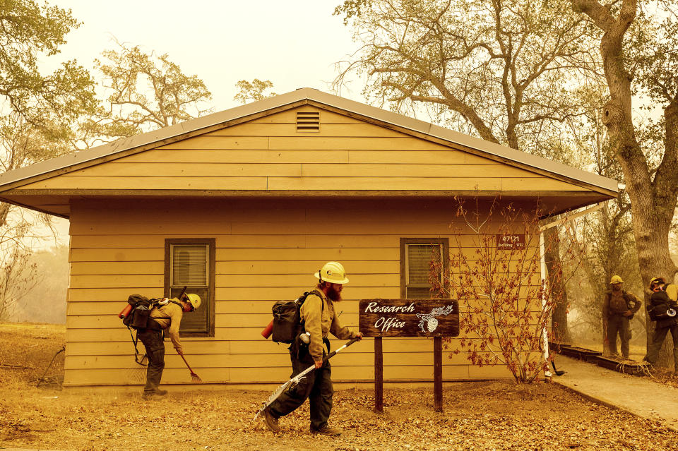 As the KNP Complex Fire approaches, U.S. Forest Service firefighters Heron Hilbach-Barger and Jackie Materne, left, clear vegetation around the Ash Mountain headquarters in Sequoia National Park, Calif., on Wednesday, Sept. 15, 2021. The blaze is burning near the Giant Forest, home to more than 2,000 giant sequoias. (AP Photo/Noah Berger)
