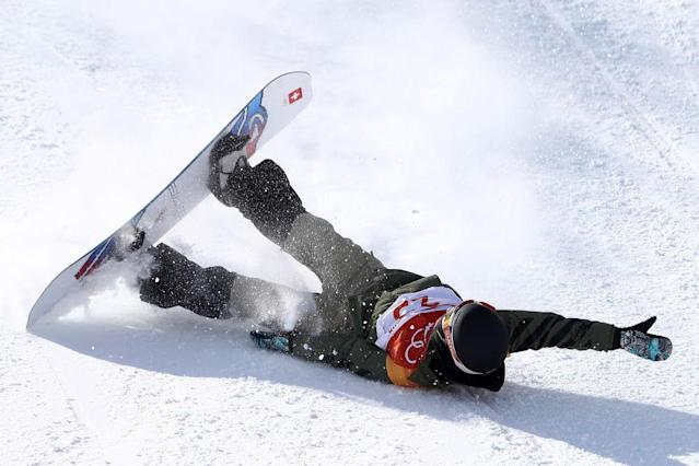 Carla Somaini of Switzerland was among the many riders who crashed in the women's snowslope final. (Getty)