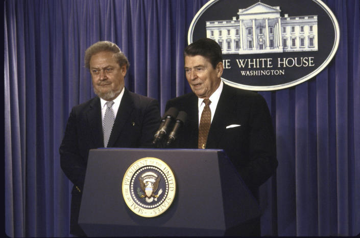 US President Ronald W. Reagan speaking at a press conference while standing with his Supreme Court Justice nominee Robert H. Bork.  (Diana Walker/The LIFE Images Collection via Getty Images)