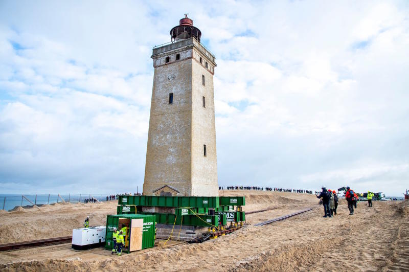The lighthouse at Rubjerg Knude that is being moved away from the coastline (Picture: AFP/Getty)