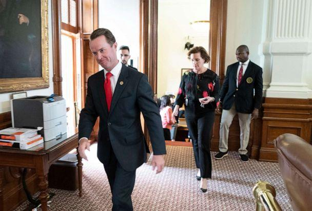 PHOTO: House Speaker Dade Phelan, leaves a Democratic caucus on SB 7 that lasted over an hour during a pause in the House session, May 30, 2021, Austin, Texas. (Bob Daemmrich/ZUMA PRESS)