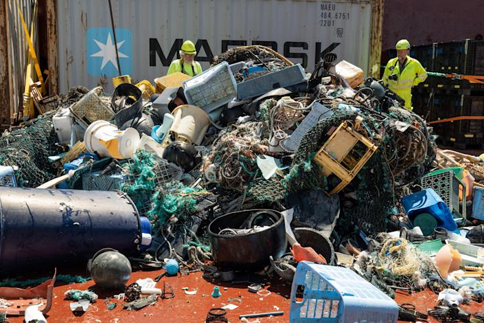 Plastic catch onboard a System 002 vessel. (Photo: The Ocean Clean Up)