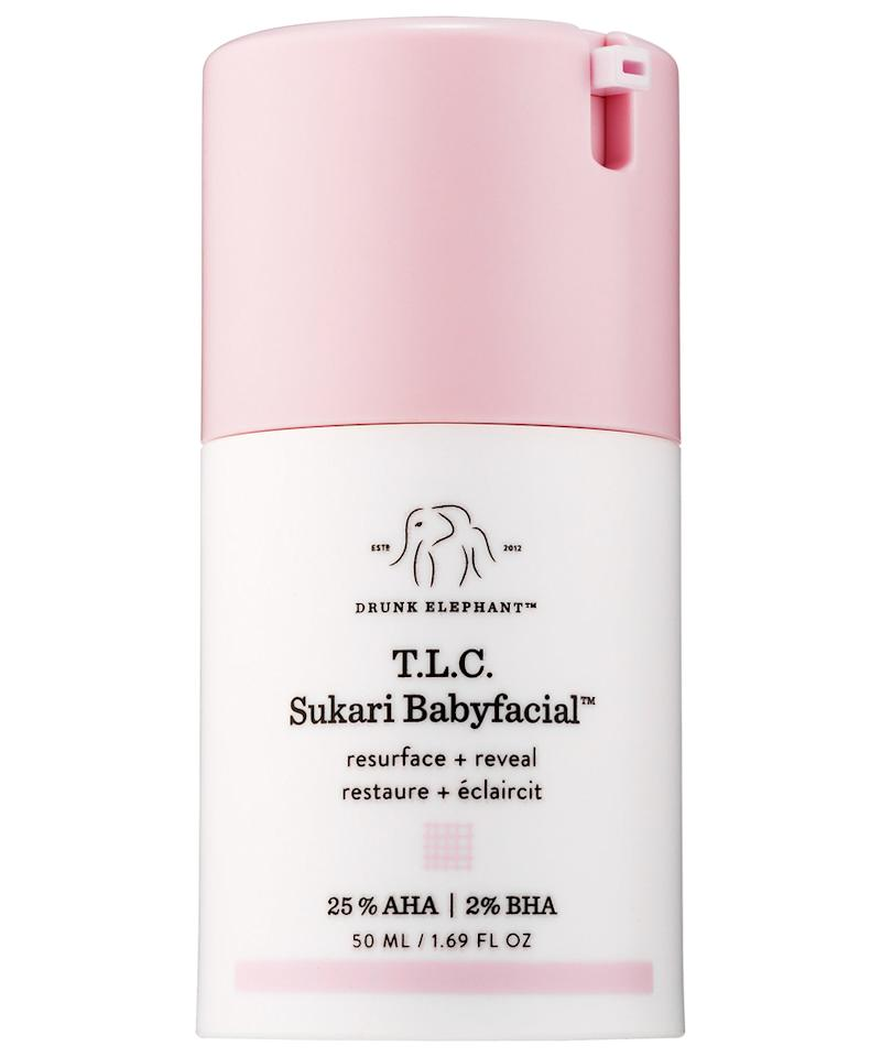 <p>Its pastel pink and white packaging may be cute, but this Drunk Elephant mask is no joke. Its boasts 25-percent AHA and 2-percent BHA acids that clear pores, evens skin tone, minimizes dark spots, and leaves an all over glow. </p>