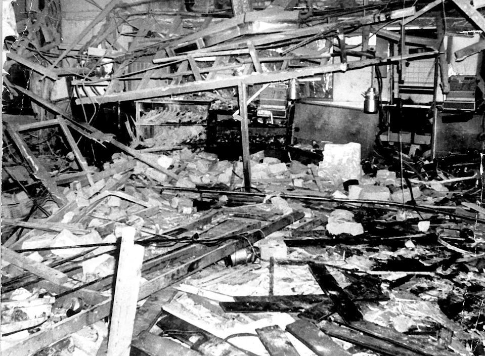FILE PICTURE - Interior of the Mulberry Bush, after the Birmingham pub bombings.  See SWNS story SWMDbombings.  A man has been arrested in connection with the deaths of 21 people in the 1974 pub bombings in Birmingham. The blasts at the Mulberry Bush and Tavern in the Town pubs on the night of 21 November also injured 220 people.  Officers from Counter Terrorism Policing West Midlands, working with the Police Service of Northern Ireland, arrested the 65-year-old at his home in Belfast.  He was detained under the Terrorism Act and his home is being searched.  The 65-year-old will be interviewed under caution at a police station in Northern Ireland, police said.