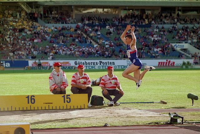 <p>Jonathan Edwards' triple jump record of 18.29m set in 1995 is at risk. </p>