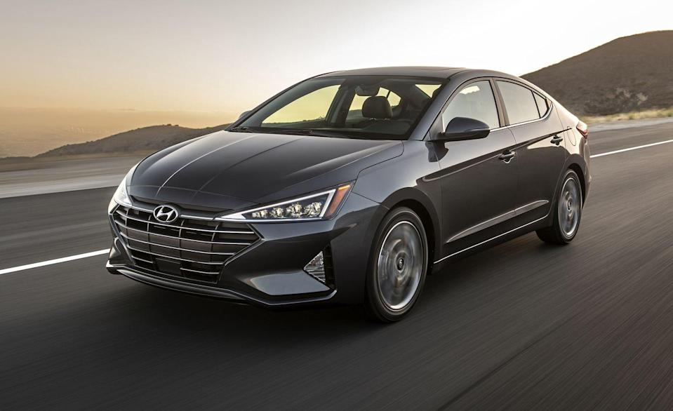"""<p>Hyundai is already whipping out its <a href=""""https://www.caranddriver.com/hyundai/elantra"""" rel=""""nofollow noopener"""" target=""""_blank"""" data-ylk=""""slk:all-new 2021 Hyundai Elantra"""" class=""""link rapid-noclick-resp"""">all-new 2021 Hyundai Elantra</a>, which features sleek new bodywork and an increase of interior space. The 2020 Elantra is still available, and it's still desirable, but its shelf life is almost up. </p><p>A compact, the 2020 Elantra sedan comes in SE, SEL, Value Edition, Eco, Limited, and Sport trim levels. Most are powered by a 147-hp 2.0-liter four-cylinder and this year Hyundai ditched its conventional automatic for a CVT. The change increases its combined and city EPA fuel-economy ratings by 2 mpg, while its highway figure goes up by three. The turbocharged Eco model is now more fuel-efficient as well. A new stop-start system bumps its fuel-economy 1 mpg across its EPA ratings. Overall, the Elantra's EPA fuel-economy ratings are among the best of all compacts, with several trims rated at 40 mpg or higher on the highway. </p><p>For more sport and cargo space, the five-door Elantra hatchback is packing 201 turbocharged horsepower. All 2020 Elantras come standard with automated emergency braking, lane-keeping assistance, and dual-zone automatic climate control, which is one of the reasons the model stands out as a bargain.</p>"""