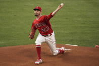 Los Angeles Angels starting pitcher Andrew Heaney throws to a Tampa Bay Rays batter during the first inning of a baseball game Thursday, May 6, 2021, in Anaheim, Calif. (AP Photo/Jae C. Hong)