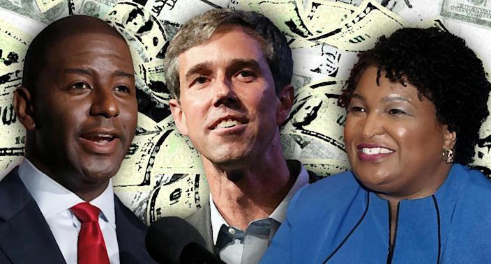 Andrew Gillum, Beto O'Rourke and Stacy Abrams. (Photo illustration: Yahoo News; photos: AP (3), Getty Images (2))