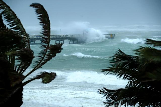 <p><strong>Fort Lauderdale</strong><br>Large waves produced by Hurricane Irma crash into the end of Anglins Fishing Pier Sept. 10, 2017 in Fort Lauderdale, Fla. (Photo: Chip Somodevilla/Getty Images) </p>