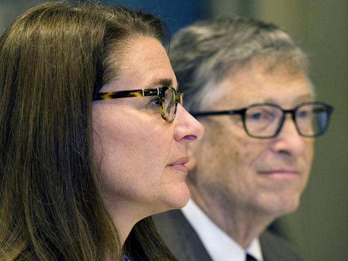 """American business magnate Bill Gates and wife Melinda Gates attend a news conference by United Nations's movement """"Every Woman, Every Child"""" in Manhattan, New York 24 September 2015 (REUTERS)"""