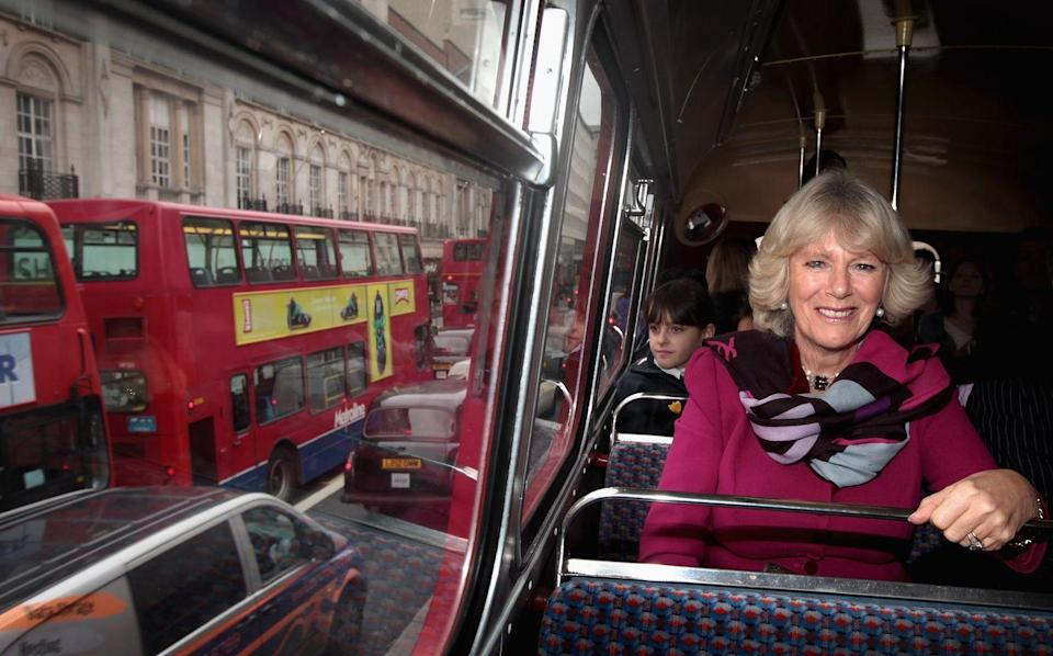 <p>Camilla Parker Bowles ditched the chauffeur and saw London by bus in 2010. She climbed aboard an old double decker to get to the London Transport Museum for an engagement later that day. </p>